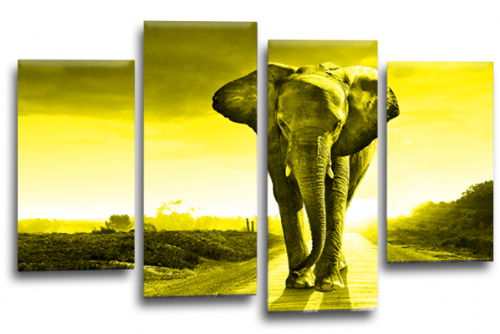 Sunset African Elephant Yellow Grey Canvas Wall Art Picture Print